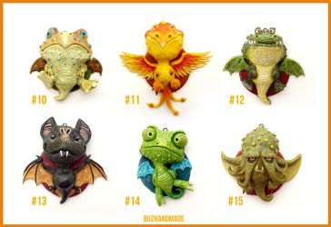 Dragon Charms Collection 2  - CLAY Sculptures by buzhandmade