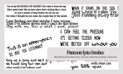 Paramore lyrics brush by demolitionn