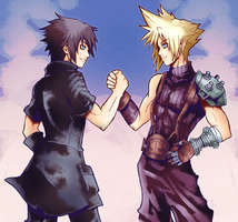 Noctis and Cloud by SassyKatArt