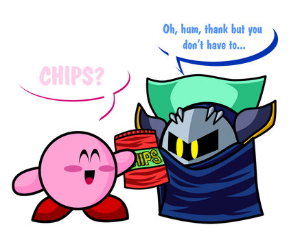 Kirby propose the Chips to Meta Knight by zigaudrey