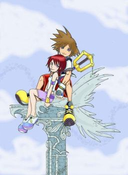 Sora and Kairi on the PEDESTAL by hiartasgirl