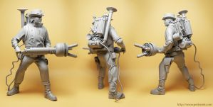 Steampunk Ghostbuster resin kit by pedramk