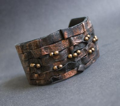 Rustic elegant leather bracelet Cuff Wristband by julishland