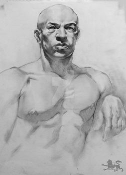 male charcoal life drawing by lupodirosso