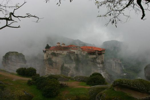 The Monastery of Meteora by Topasdragon
