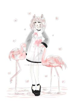 Flamingo Girl Art : by HannahVictoriaBibby
