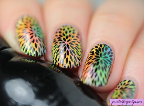 Angled-neon-starburst-stamping by Painted-Fingertips