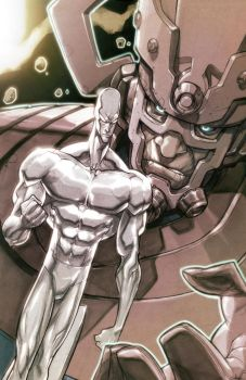 Silver Surfer and Galactus by MiaCabrera