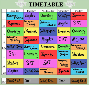 Tmnt-U: Bianca Class Timetable by AncientWhiteFire