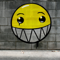 Graffiti Smiley: Big Grin on the wall by mondspeer