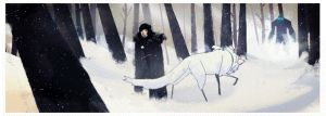 Jon Snow and Ghost fake animate by Maracass