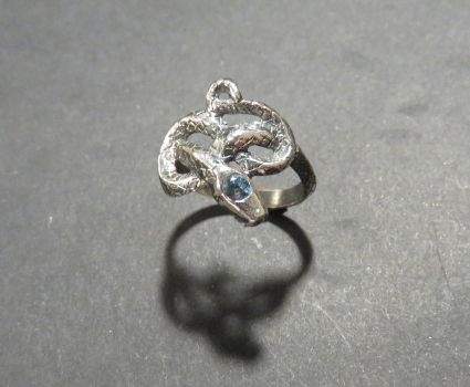 Eternity Snake Ring with Synthetic Sapphire by GeshaR