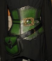 leather corser with belt pouch by Lagueuse
