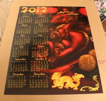 2012 Year Of The Dragon poster calendar by The-SixthLeafClover