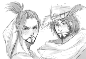 Overwatch: Hanzo Shimada and Jesse McCree by Mikouchan