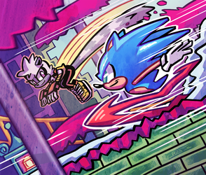 Sonic and Tangle in Press Garden by Ziggyfin