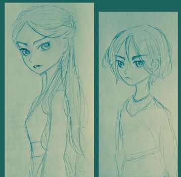 Sketch - Arya and Sansa Stark by FuranBi