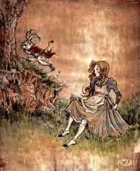Alice and the White Rabbit by AnnSofieVejs