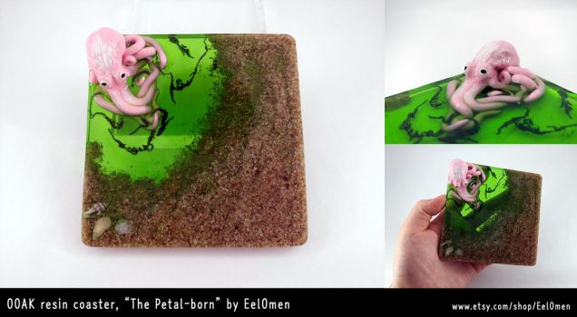 OOAK Octopus resin coaster- the petal-born by EelOmen