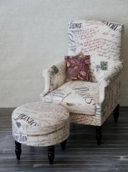1/4 Scale upholstered chair with matching ottoman by meitina