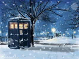 :: The Police Box Snowing by IronWarrior777