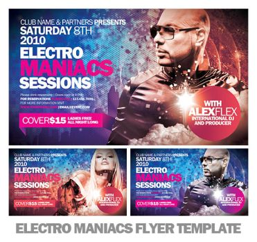 Electromaniacs Flyer Template by EAMejia
