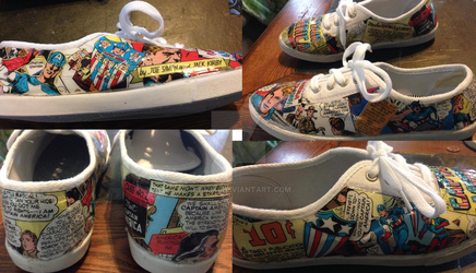Captain America Comic-Art tennis shoe Project by kamiki