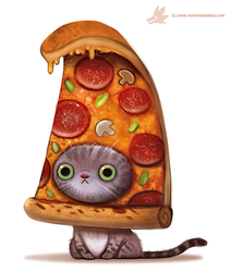 Daily Paint #1103. Pizza Cat by Cryptid-Creations