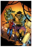 Hulk Vs Spiderman by Hitotsumami
