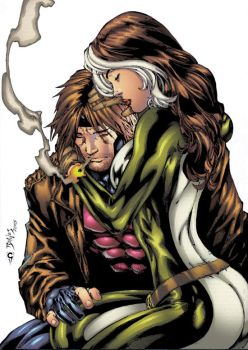 Rogue and Gambit - Embrace by thesealord