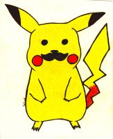 Pikachu, WITH A MOUSTACHE by Skaellj