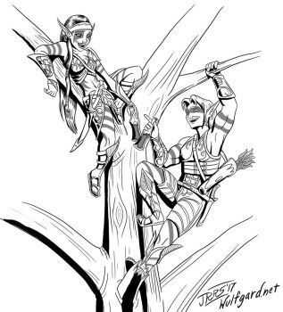 Inktober: Wood Elves by Saber-Scorpion