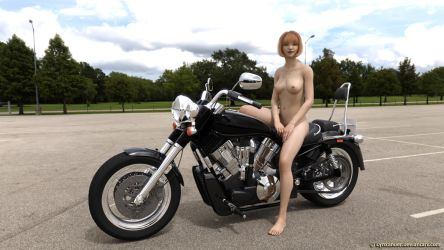 Black bike nude by Lynxander