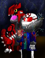Primal!Sans and Groudon by miller7751