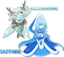 [CLOSED] Gem Adopts: Sapphire and Aquamarine by Booty-Bae-Adopts