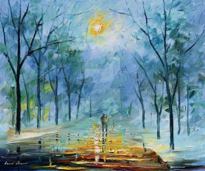 Winter's Fog by Leonid Afremov by Leonidafremov