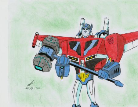 winged Optimus transformers animated by ailgara