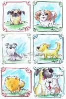 Watercolour Dogs by AgnesGarbowska