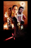 Star Wars  The Force Awakens caricature poster by DevonneAmos