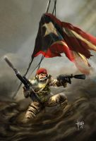 Puerto Rican in battlefield by Husef Artigas by hartigas