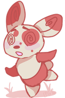 A wild badly drawn Spinda appears.