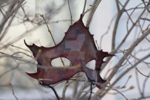 Black and Red Maple Leaf Mask by OsborneArts