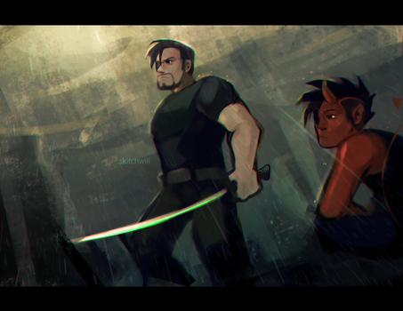tom and oni by Skitchwill
