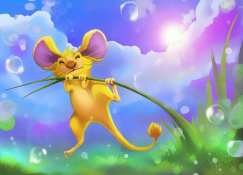 a little yellow happy mouse by clefchan
