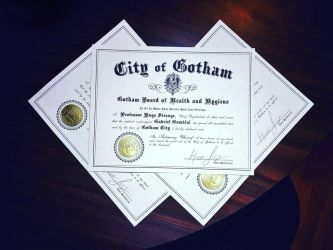 CUSTOM certificate from Gotham TV show by LeftoverPrints