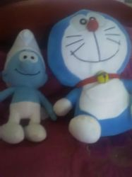 Smurf and Doremon by mixelfangirl100