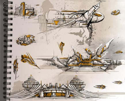 Sci-Fi Architecture Sketches 1 by Meanor