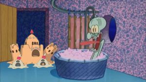 Sandygast and Palossand drop by Squidward's House