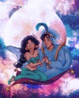 Painting of Jasmine and Aladdin in Whole New World by dwightyoakamfan