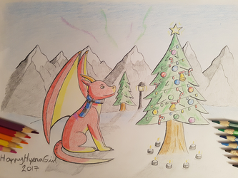 Dragon And The Christmas Tree by HappyHyenaGirl